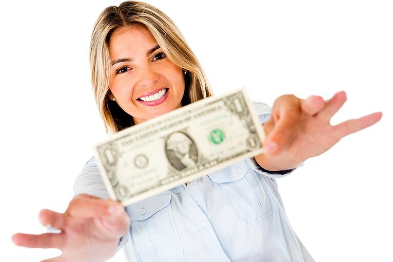 Woman holding a dollar bill - isolated over a white background.jpeg